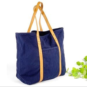 J Crew Navy Blue Canvas Tote Leather Trim Bag